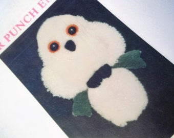 Punch Needle Embroidery Kit of a White Owl - 1989
