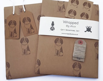 Spaniel Gift Wrap Set: 2 Sheets Kraft Wrapping Paper with Springer Spaniel Print, 2 Gift Tags, 4 Stickers, 5m Hemp Twine.