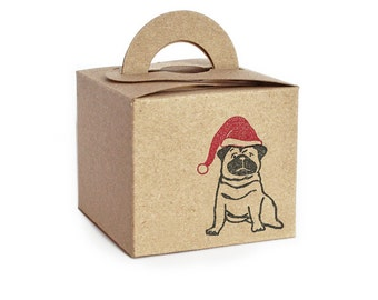 Pug Christmas Gift Box Set: Mini Kraft Gift Box, with Christmas Gift Tag, Sticker & Shredded Paper. (some DIY assembly needed)