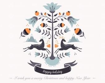 Hipster christmas clipart, christmas greeting card, christmas poster, hipster xmas clip art, winter clipart, deer clip art, xmas clip art,