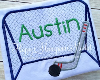 Ice or Roller Hockey Embroidered goal net hockey stick and puck shirt Hockey Birthday Party Customize colors