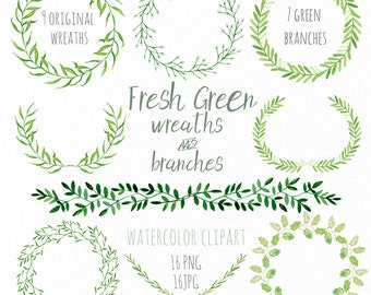 Fresh Green wreaths and branches. Watercolor clip art hand drawn. Light green branches, wedding invitation, olives, rosemary, Laurel Wreath