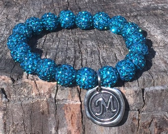 Teal Shamballa Bead Bracelet with Initial of your choice