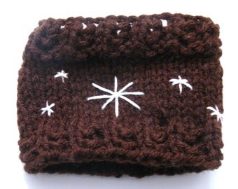 Snowflake Cup Cozy, Brown Knitted Cup Holder, Decorated Embroidered Handmade Coffee Cozy Sale