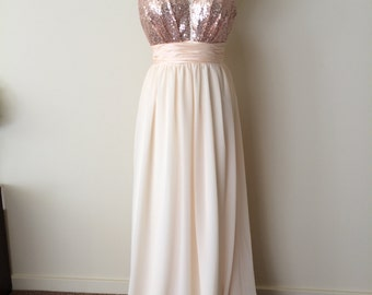 Stacy's bridal party- custom 'Jamie' dresses with rose gold sequin top, blush chiffon skirt and blush chiffon self-tie waistband