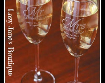 Monogram Champagne Glasses