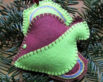 Wool Felt Fish Ornament Hanger In Burgundy & Lime Green