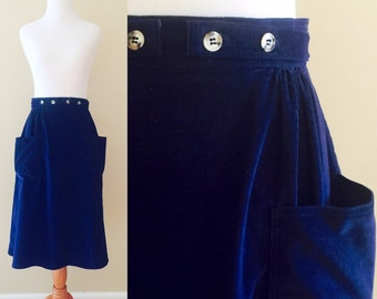 Practical Sapphire Skirt | Vintage wrap-around skirt in blue corduroy