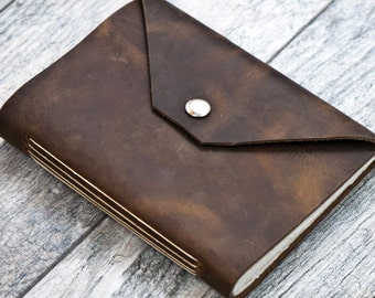 50% OFF - Snap Closure - Rustic Brown Premium Leather Personalized Journal Sketchbook Notebook