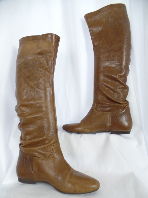 caramel knee high boots boots image