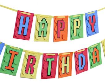 Happy Birthday Building Brick Banner - Building Blocks Happy Birthday Banner