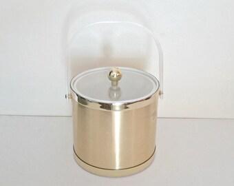 Ice bucket, Mid century ice bucket,Hollywood Regency, gold ice bucket, Lucite ice bucket, MCM  retro ice bucket