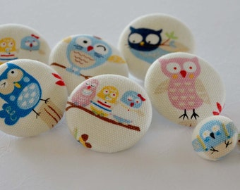 Fabric Buttons -Owl - Fabric Covered Buttons