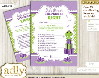 Girl Frog Price is Right Game Printable Card for Baby Frog Shower DIY – Polka -aa49bsP12