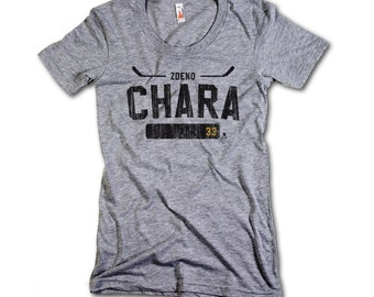 Zdeno Chara NHLPA Officially Licensed Boston Women's Scoop Neck T-shirt S-XL Zdeno Chara Athletic K