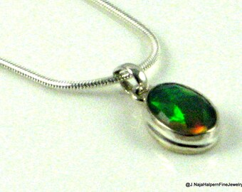 Opal Pendant, Opal Necklace, Sterling Silver 925, High Grade Gemstone, Silver Pendant, 6 Carats, October Birthstone, Opal Jewelry, Australia