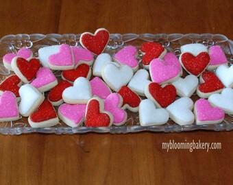 36 Mini Heart Sugar Cookie - Three Dozen Rolled Sugar Cookies