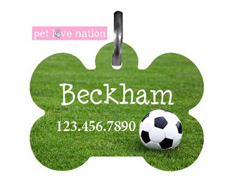 Personalized Soccer Pet Tag, Monogrammed Soccer Pet Tag, Identification Tag With Name And Phone Number