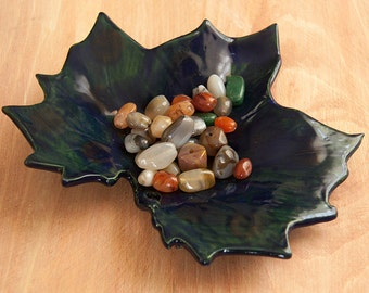 Blue Overlay with Green and Orange Polka-Dots Sycamore Porcelain Handmade Leaf