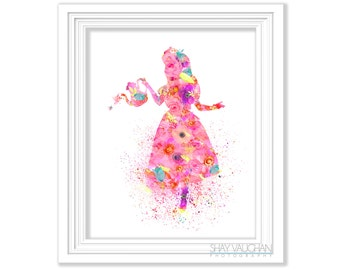 Alice In Wonderland Art Print Floral Watercolor Pink Alice With Tea Pot Painting Nursery Art Home Decor Children's Wall Art Gift (No.381)