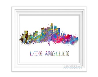 Los Angeles Wall Art los angeles skyline art print poster from original watercolor