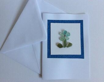 Daisy greetings card, seaglass flower, springtime card, blank notecard, Easter gift, birthday, gardening card