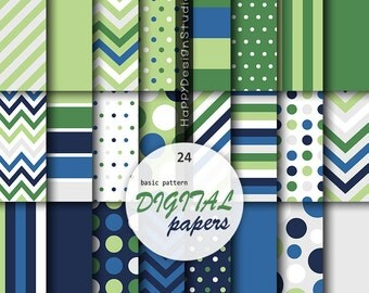 Navy blue and green digital paper basic golf pattern baby boy shower party birthday decor dot polka dots chevron stripe background printable