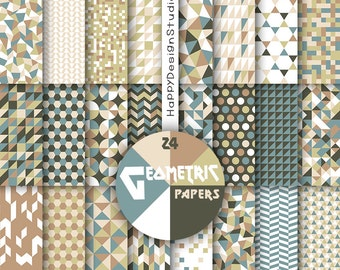 Geometric digital paper retro colors mosaic triangle scrapbooking instant download pattern triangles geometrical beige tan green vintage
