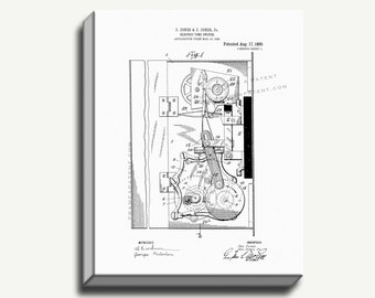 Canvas Patent Print - Electric Time-switch Gallery Wrapped Canvas Poster