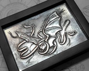 Messenger Bat : hand embossed repoussé metal wall art