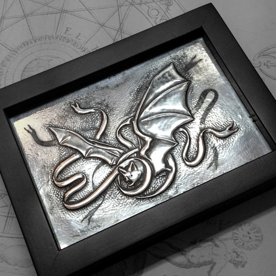Messenger Bat : hand embossed repoussé metal wall art