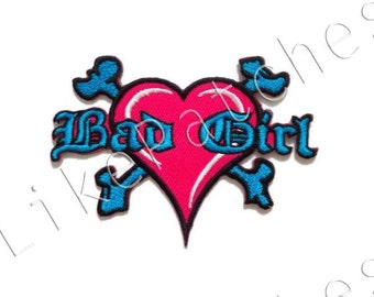 Bad Girl - Pink Heart - Blue Crossbones - New Sew / Iron on Patch Embroidered Applique Size 8.8cm.x6.5cm.