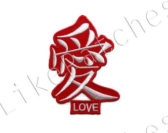 Love Chinese Language New Sew / Iron On Red Patch Embroidered Applique Size 6cm.x8.3cm.