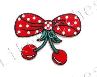 Red Christmas Bow New Sew / Iron On Patch Embroidered Applique Size 8cm.x6.3cm.