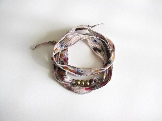 Silk Wrap Bracelet 'Garden Confetti'