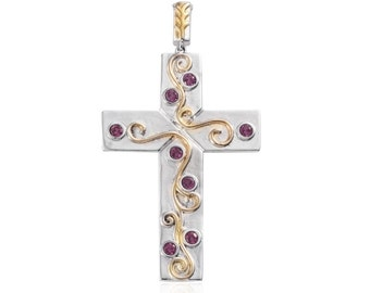 Orissa Rhodolite Garnet Cross Pendant Without Chain Plated YG and Stainless Steel TGW 1.00 Cts.