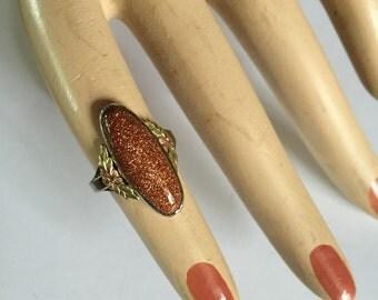 Antique Vermeil Sterling SIlver Goldstone Ladies Ring
