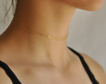 Simple Choker Necklace, Dainty Thin Chain Choker Necklace, Gold Silver Wrap Chain Choker, NS51