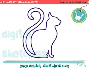 Cat Applique Embroidery Design Instant Download 4 Sizes