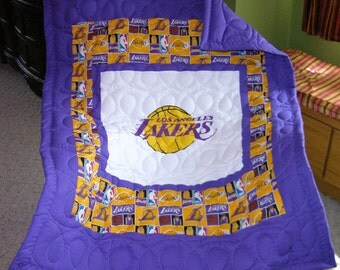 New Baby Crib Quilt m/w LA Lakers Fabric
