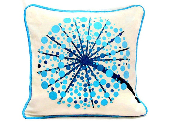 Blue Flower tree piping throw pillow sham 18x18 embroidery