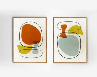 SET of 2 Scandinavian art Mid century modern art Retro prints geometric art Eames abstract Wall decor Vintage inspired Modern Abstract art
