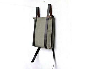 Custom canvas backpack, waxed canvas leather bags, minimal laptop rucksack, Zipper daypack 302