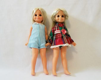 Two Vintage Ideal VELVET Dolls, One Is The Look Around VELVET DOLL, Grow Hair Crissy Family