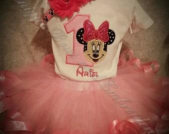 Minnie mouse Inspired Birthday Tutu Set ~ Minnie Inspired Birthday Outfit ~ Personalized Birthday Outfit