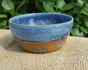 Small Ceramic Bowl Blue Dragonfly