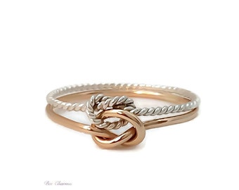 Double knot ring, knot ring, gold and silver ring, love knot ring, bridesmaid gift, promise ring