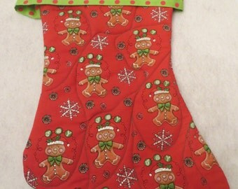 Christmas stocking, quilted Christmas stocking, Xmas stocking, holiday decor, stockings, Christmas gift, Gingerbread, Fireplace mantle
