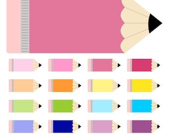 80% OFF SALE Pencil Clipart, Digital Pencils, School Clipart, Pencil Labels, Printable, Commercial Use