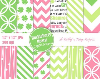 80% OFF SALE St Patricks Day Digital Paper, Scrapbook Paper, Backgrounds, Shamrocks Patterns, Printable